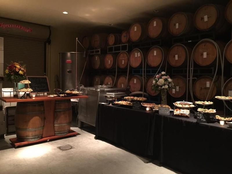 Buffet and Wine Barrels